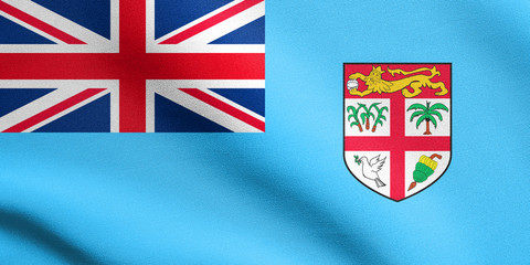 Flag of Fiji waving with fabric texture