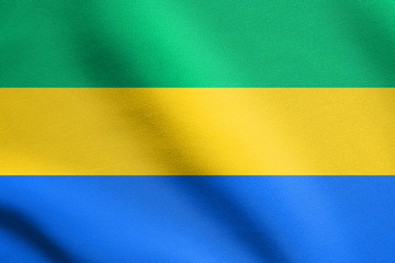 Flag of Gabon waving with fabric texture