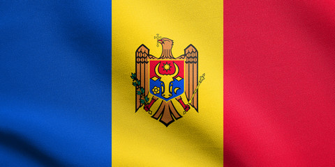 Flag of Moldova waving with fabric texture