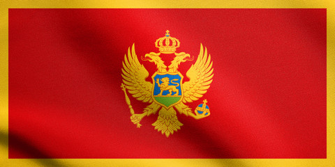Flag of Montenegro waving with fabric texture