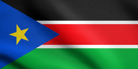 Flag of South Sudan waving with fabric texture