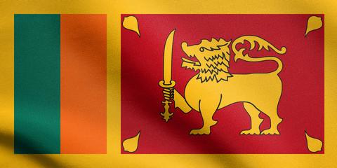 Flag of Sri Lanka waving with fabric texture
