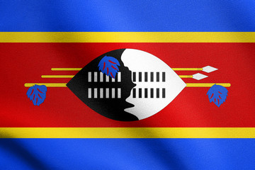Flag of Swaziland waving with fabric texture