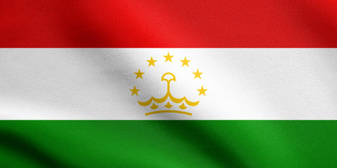 Flag of Tajikistan waving with fabric texture