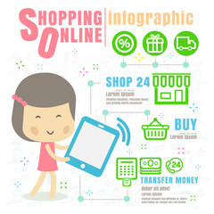 Infographic shopping online . concept vector illustration on whi
