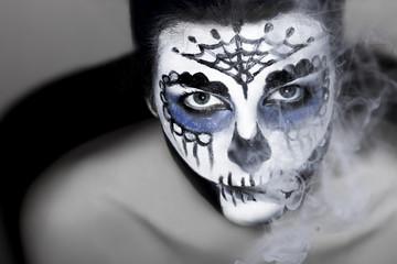 Halloween make up sugar skull Santa Muerte concept.