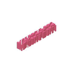 The letter I, in the alphabet broken 3d perspective isometric set pink color isolated on white background