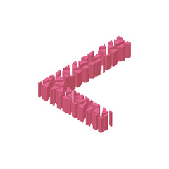 The letter L, in the alphabet broken 3d perspective isometric set pink color isolated on white background