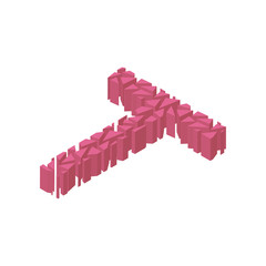 The letter T, in the alphabet broken 3d perspective isometric set pink color isolated on white background