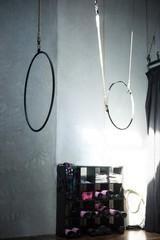 Hanging gymnastic hoops
