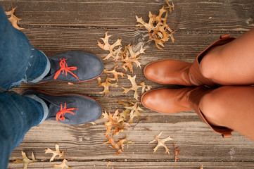 Autumn mood, Autumn scene Feet and fall leaves