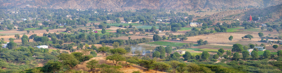 Panoramic View of Pushkar Valley in India, from an Elevated Pers