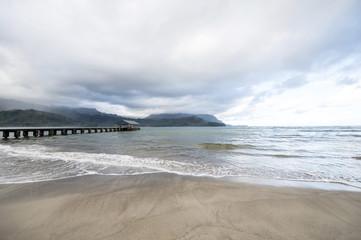 Hanalei beach, Kauai, Hawaii, Hanalei Pier, Kauai, Hawaii