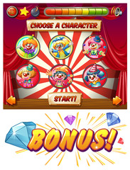 Game template with clowns as characters