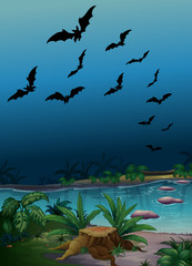 Scene with bats flying over the pond