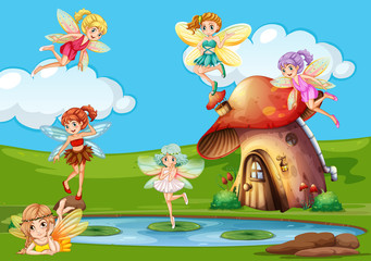 Many fairies flying over the pond