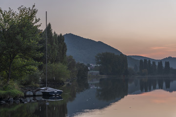 Valley of river Labe in summer evening
