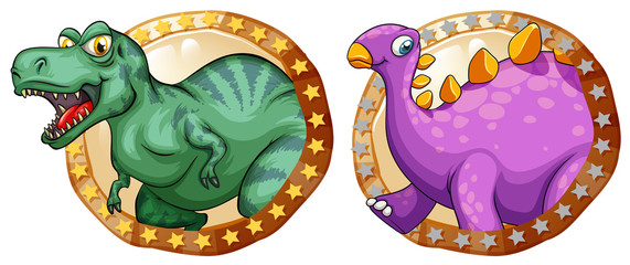 Two dinosaurs on round badges