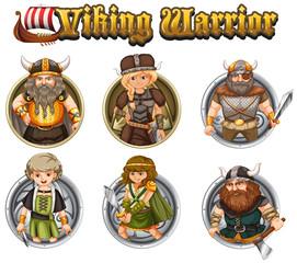 Viking warriors on round badges