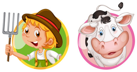 Farmer and cow on round badges