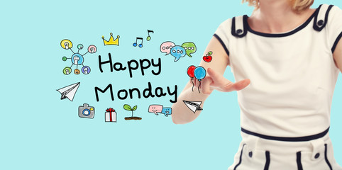 Happy Monday concept with young woman