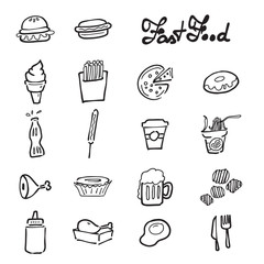 Fast food icons set doodle drawing