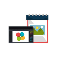 sketch creative notepad and graphic design program. vector illustration