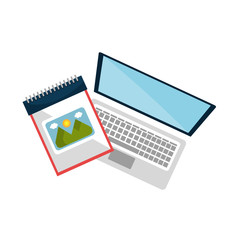 laptop computer device with sketch creative notepad. vector illustration