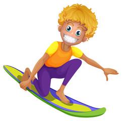 Happy man on surf board