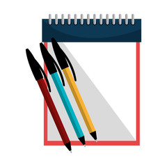 sketch creative notepad with colors pen. vector illustration