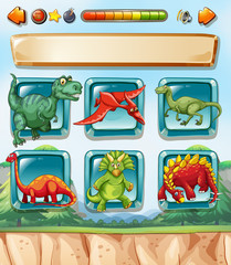 Computer game template with dinosaurs background