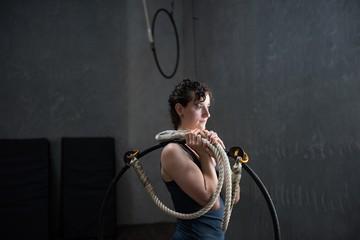 Gymnast holding gymnastics hoop
