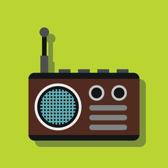 Radio in flat style with shadow