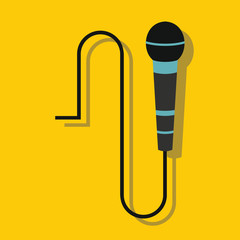 Microphone in flat style with shadow