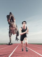 A man and a dinosaur running