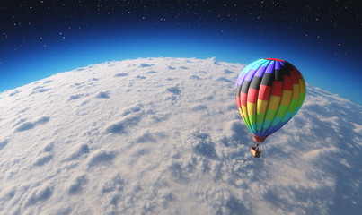 The balloon flying over planet in space