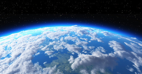 The planet earth in space