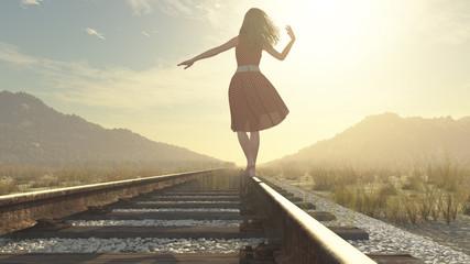 A walking girl on the railway