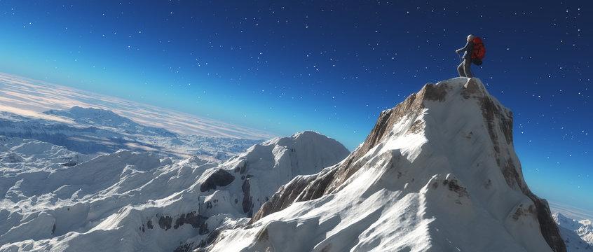 Climber on a snowy peak