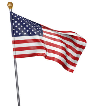National flag for country of United States isolated on white background, 3D rendering