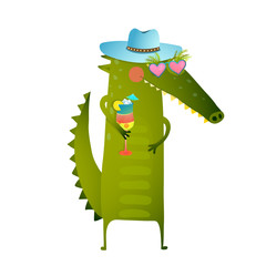 Funky Party Cocktail Crocodile Wearing Hat Character