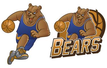 bear cartoon basketball mascot