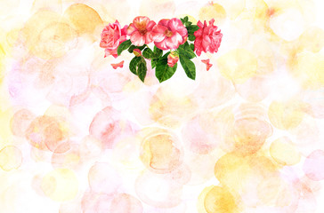 Tender pink roses bouquet on pastel background with copyspace