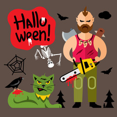 Vector Comic Crazy maniac Halloween Scene Cartoon illustration