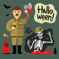 Vector Halloween Zombie Cartoon Illustration.