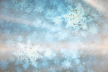 Shiny artistic blurry textured snowflakes illustration background. Dreamy winter season copy space greeting card.
