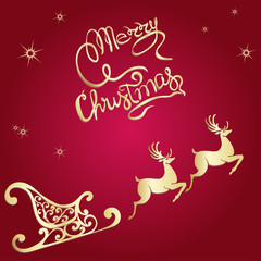 deer merry Christmas poster template