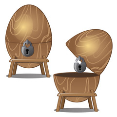Closed and open wooden eggs with lock on stand