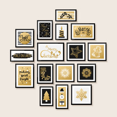 Gallery wall, merry christmas and happy new year card design. Snowflake, calligraphy, sweets, tree vector illustration.