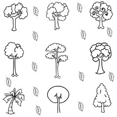 Hand draw tree set doodle
